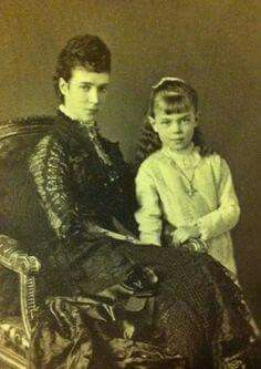 "Empress Marie Feodorovna of Russia with her eldest daughter,Grand Duchess Xenia Alexandrovna Romanova of Russia.  ""AL"""