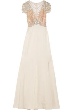 JENNY PACKHAM Embellished tulle and satin-crepe gown. #jennypackham #cloth #dresses