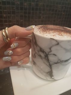 Stone marble grey nails with glitter and gold