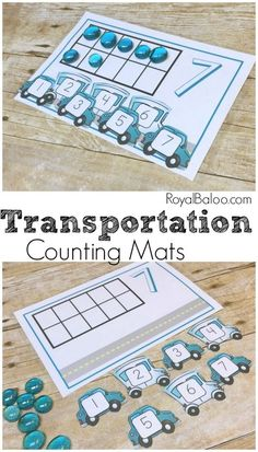 Practice simple counting, addition, and subtraction with these fun Transportation Counting Mats! There is lots of fun to be had with this free pritnable! Math Activities For Kids, Counting Activities, Preschool Themes, Preschool Classroom, Fun Math, Number Activities, Transportation Activities For Preschoolers, Kindergarten, Preschool Printables