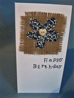Items similar to Flower Birthday Card - Liberty Print Floral Birthday Card - Machine Embroidered - Handmade Greeting Card on Etsy Flower Birthday Cards, Birthday Cards For Men, Handmade Birthday Cards, Flower Cards, Fabric Cards, Fabric Postcards, Paper Cards, Embroidery Cards, Free Motion Embroidery