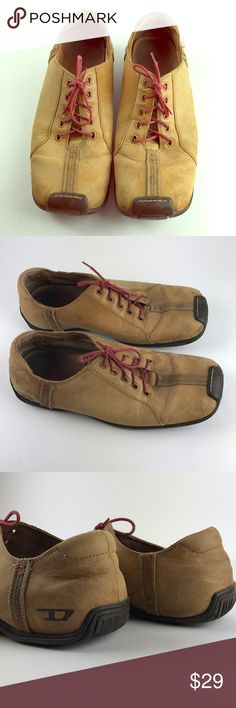 Vtg Diesel men's shoe Pilsner brushed leather s9.5 These are vintage Diesel Pilsner model sz 9.5 men's shoes. The condition is used with signs of wear. Brushed leather has scratched part, and inside lining has a damage. Sole is not worn out . Laces original Diesel. Diesel Shoes Oxfords & Derbys