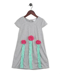 Look what I found on #zulily! Gray & Fuchsia Flower Kiss the Sky Dress - Toddler & Girls by Gidget Loves Milo #zulilyfinds