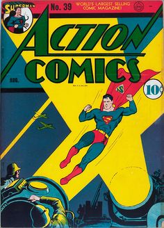 Superman: (The Man with the Radioactive Touch) Pep Morgan: (The Jailed Star) Black Pirate: (Escape from the Palace) Three Aces: (The Medicine Thief) Mr. the Fifth Columnists) Congo Bill: (The Secret U-Boat Base) Zatara: (The Zin Diamond) Old Superman, Superman Action Comics, Superman Comic, Superman Stuff, Superman Family, Superman Logo, Dc Comic Books, Vintage Comic Books, Vintage Comics