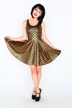Gold Mermaid skater dress
