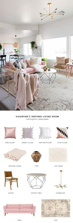 A blush boho living room created by Mandi Gubler from Vintage Revivals gets recreated for less by copycatchic luxe living for less budget home decor design http://www.copycatchic.com/2017/02/copy-cat-chic-room-redo-valentines-inspired-living-room.html?utm_campaign=coschedule&utm_source=pinterest&utm_medium=Copy%20Cat%20Chic&utm_content=Copy%20Cat%20Chic%20Room%20Redo%20%7C%20Valentine%27s%20Inspired%20Living%20Room