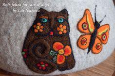 Купить Лежанка валяная из шерсти для кошек. - серый, лежанка, лежанка для кота, лежанка для кошки