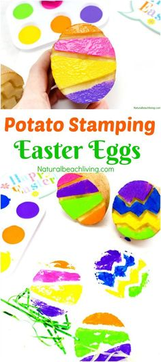 The Best Easter Egg Potato Stamp Ideas for Kids, Great Easter Craft, Potato Stamping, Art for preschoolers and Spring Activities for Kids, We Love Painting
