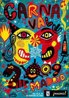 Ganador concurso de carteles carnaval de madrid 2009 : Hilo : Domestika