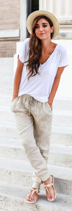 Casual look | Simple white tee, linen pants, Panama hat and sandals #casual
