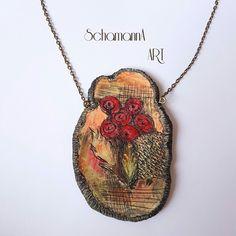 Schmuckanhänger - Lässiger Anhänger mit Mohnblumen - ein Designerstück von Schamanna-ART bei DaWanda