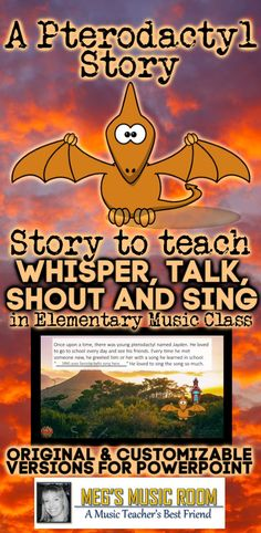 Whisper, Talk, Shout, Sing: A Pterodactyl Story - 4 Kinds of Voices Elem Music Music Education Games, Physical Education, Elementary Music, Elementary Teaching, Elementary Schools, Smart Board Lessons, Music Classroom, Music Teachers, Interactive Stories