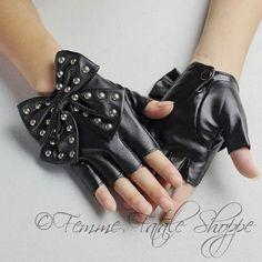 Bow Fingerless Leather Biker Gloves