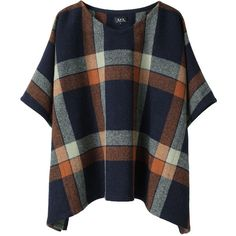 A.P.C. Tartan Wool Poncho (1.000 RON) ❤ liked on Polyvore featuring tops, shirts, sweaters, outerwear, women, a.p.c., plaid poncho, wool poncho and orange poncho