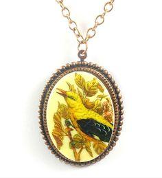 Bird Necklace Bird Cameo Necklace Yellow by TashaHusseyDesigns, $42.00