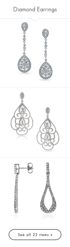 """Diamond Earrings"" by alejaborrayo ❤ liked on Polyvore featuring jewelry, earrings, yellow, drop dangle earrings, bridal drop earrings, bridal earrings, cz drop earrings, chandelier earrings, silver and silvertone earrings"