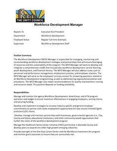 Looking for a Workforce Development Manager