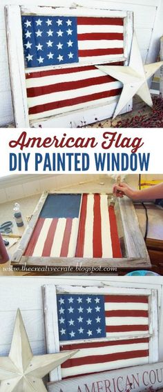 Painted Flag Window Tutorial, DIY and Crafts, DIY American Flag Painted Window. Awesome of July decor! Love this home decor idea! Patriotic Crafts, July Crafts, Summer Crafts, Diy And Crafts, Patriotic Wreath, Patriotic Party, Wooden Crafts, Decor Crafts, American Flag Painting