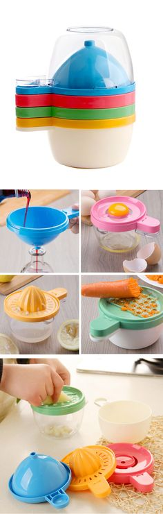 4-in-1 Kitchen Tools - funnel, grater, egg separater, and juicer