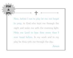 Printable Children Prayer Print  5x7  JPG & PDF by NRCDesignStudio, $5.00