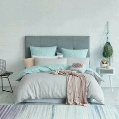 This is a Bedroom Interior Design Ideas. House is a private bedroom and is usually hidden from our guests. However, it is important to her, not only for comfort but also style. Much of our bedroom … Bedroom Turquoise, House Of Turquoise, Aqua Bedroom Decor, Bedroom Colours, Dream Bedroom, Home Bedroom, Grown Up Bedroom, Pretty Bedroom, Pastel Bedroom