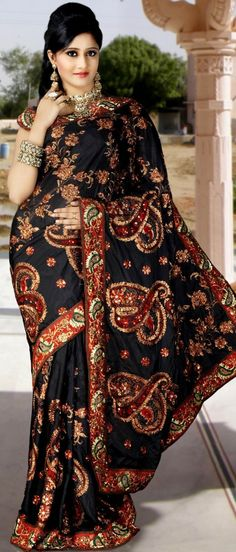 Gorgeous Black Pure Silk Saree with Blouse