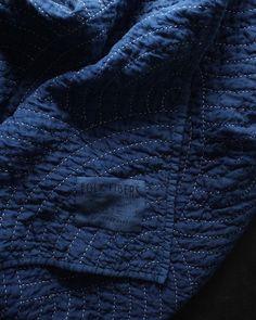 indigo dyed linen wholecloth quilt, hand stitched with sashiko cotton thread, wool batting folkfibers