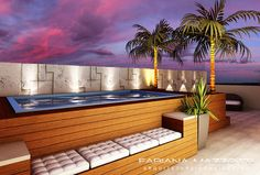 Backyard Pool Designs, Small Backyard Pools, Swimming Pools Backyard, Backyard Patio, Rooftop Terrace Design, Rooftop Pool, Spanish Colonial Decor, Piscina Intex, Raised Pools