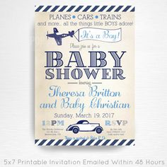 Planes Trains Automobiles Baby Shower Party Printable Invitation YOU Vintage Navy Blue Grey