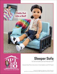 AptOne8 Sleeper Sofa Pattern 18 inch American Girl Dolls | Pixie Faire