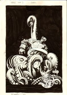 Mignola Hellboy Seed of Destruction #2 Cover Comic Art by Mike Mignola