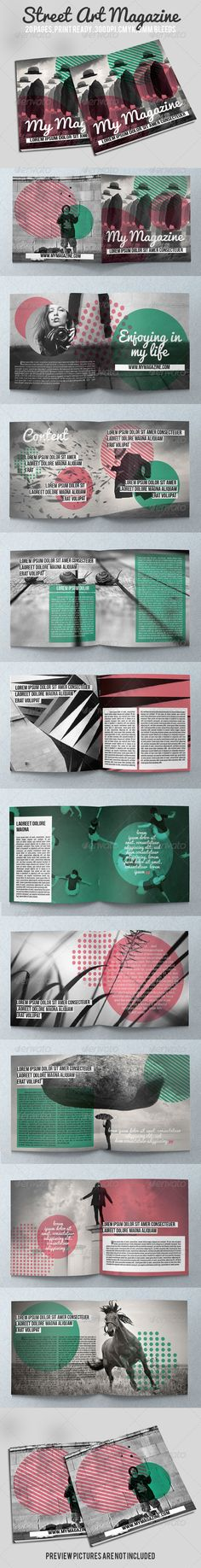 Street Art Magazine  #GraphicRiver          Beautiful ID Street Art Magazine template which you can use for any other category of magazines. 20 unique pages 21×21 cm. CMYK, 3mm Bleeds, Print Ready. Easy to customize, just drop in your own text and pictures and you are ready to go. Help file included. Free fonts used: Pacifico  .dafont /pacifico.font Bench Nine  .google /fonts/specimen/BenchNine BebasNeue  .dafont /bebas-neue.font