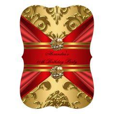 Elegant Damask Regal Red Gold Floral Birthday 2