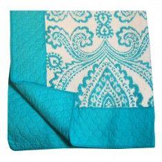 Candelabra Home Damask Printed Quilt - Aqua/White
