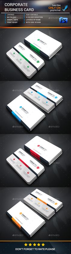 Corporate Business Card Template — Photoshop PSD #elements #concept • Available here → https://graphicriver.net/item/corporate-business-card-template/15449373?ref=pxcr