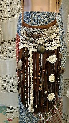 Handmade Brown Suede Leather Boho Vintage Lace Bag Hippie Purse Fringe tmyers
