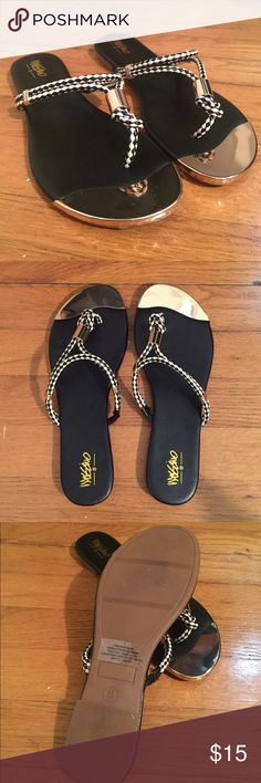 • MOSSIMO • NWOT • sandals Black and gold rope flip flops. NWOT. Size 8. Classy & cute. Mossimo Supply Co. Shoes Sandals