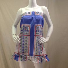 Vintage 60s, cute strapless top and bottom for a fun festival beach summer outfit. Blue and White with ruffled bottom hem.