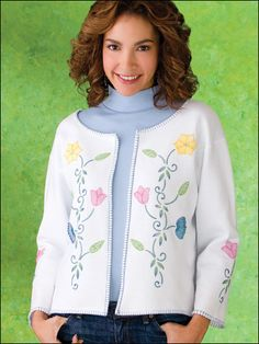 Sewing - Apparel Patterns - Say It With Flowers Make it and wear it in just a few hours! Start with a simple sweatshirt and make a few quick cuts to turn it into this darling jacket.  Skill Level: Easy  Download Size: 4 page(s)  ITEM #PRICEES00014$3.49