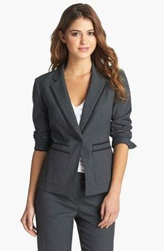 Nordstrom Jackets - Halogen® 'Fox Hunt' Suit Jacket (Regular & Petite) available at Suit Jackets For Women, Suits For Women, Office Fashion, Work Fashion, Timeless Fashion, Fashion Beauty, Nordstrom Jackets, Classic Suit, All Things Cute
