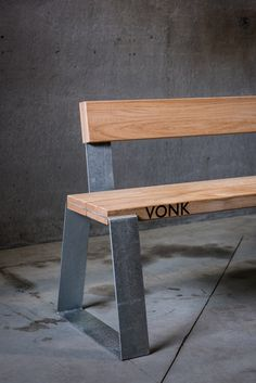Pond bench vonk Welded Furniture, Iron Furniture, Steel Furniture, Unique Furniture, Furniture Design, Outdoor Furniture, Metal Table Legs, Dining Table Legs, Wood Steel