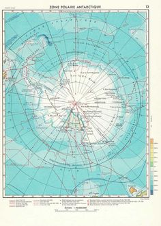 1950s antarctica vintage map | carambas