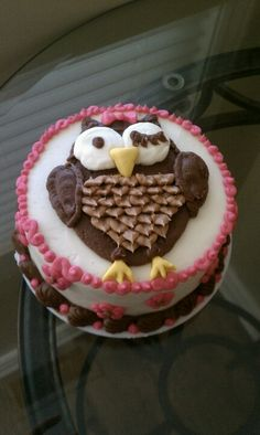 Owl 5inch 1st birthday cake by Curtis-C-Cakes