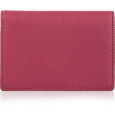 Smythson Panama textured-leather cardholder ($170) ❤ liked on Polyvore featuring bags, wallets, pink, snap closure wallet, travel wallet, snap wallet, snap bags and red wallet