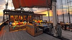 Si Datu Bua's  three staterooms, lounge, dining area, and decks are adorned with textiles and artifacts sourced throughout Indonesia.