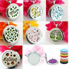 plain style Stainless Steel Perfume Aromatherapy essential oil Diffuser Locket Floating locket (Felt Pads randomly freely)