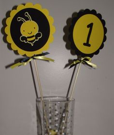 Bumble Bee Birthday Door Sign, happy birthday, personalized sign, first birthday, bee party, bee nursery theme, bumble bee, yellow,black,. $12.00, via Etsy.