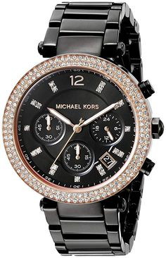 Michael Kors Women's Parker Black Watch - Glamour and sophistication combine in the elegant Michael Kors' Parker watch featuring a pavé crystal trim and rose gold-tone trim, a black sunray dial and a black stainless steel bracelet. Micheal Kors Watch Women, Michael Kors Watch, Black Stainless Steel, Stainless Steel Bracelet, Coach Rogue, Parker Black, Rose Gold Watches, Wrist Watches, Bracelet Watch