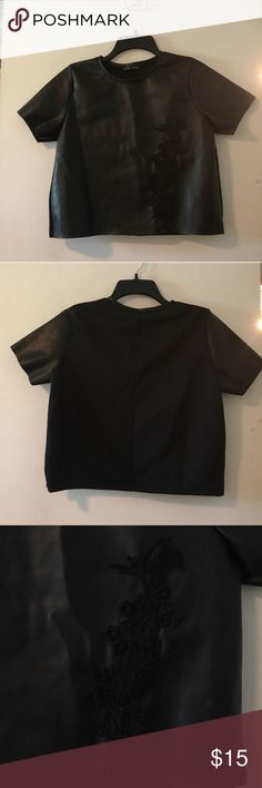 Zara faux leather top with embroidery. Worn once. Perfect condition. Size M (runs small). Zara Tops Blouses