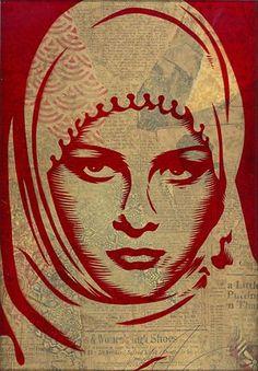 Shepard Fairey Arab Woman Rubylith 2008 Rubylith stencil Edition: 1 Size: 9x15